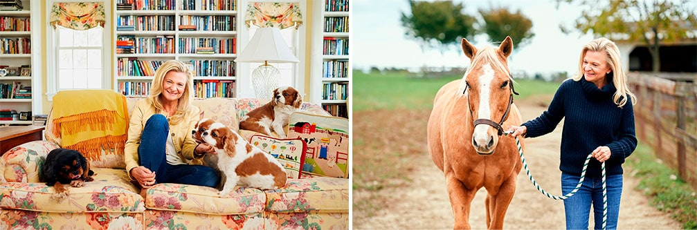 Lisa Scottoline with dogs and horse